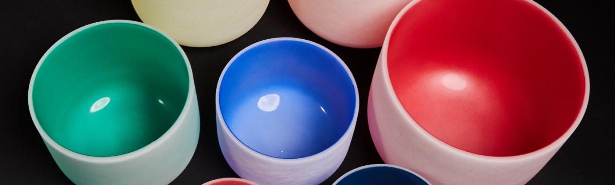 Coloured crystal bowls
