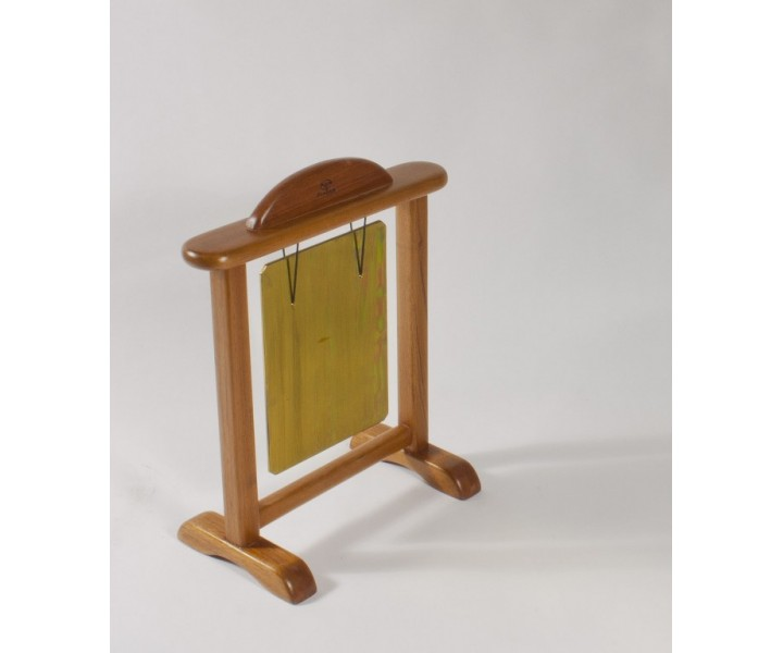 Brass tuned gong with wooden stand