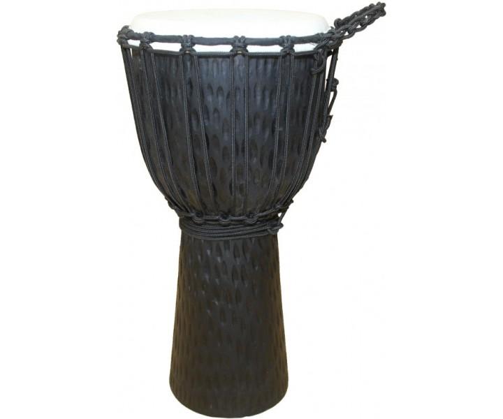 Carved djembe black 40 cm
