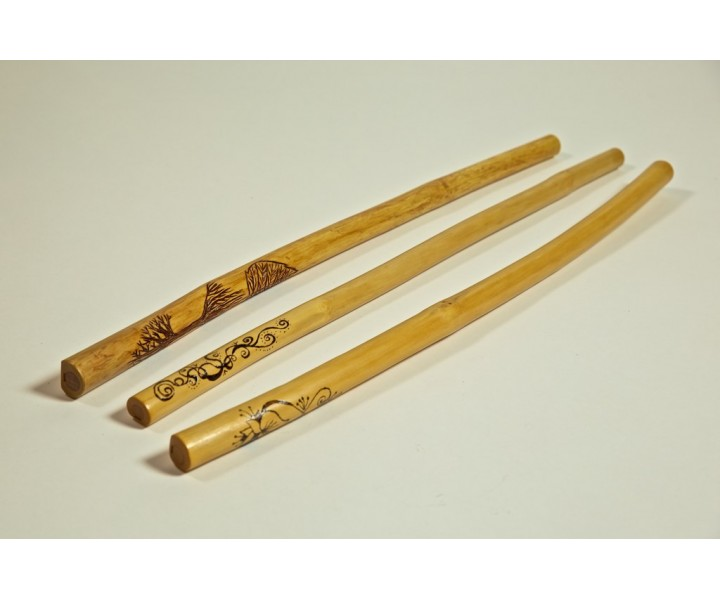 Wood Overtone Flute decorated