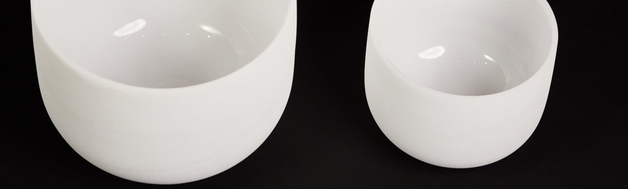 White crystal singing bowls