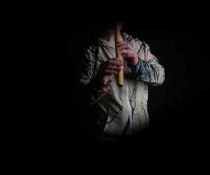 Meditation flute from elder wood F